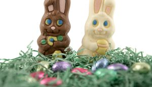 Milk chocolate and white chocolate Easter bunnies.