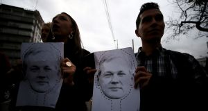 Ecuadorians demonstrate in Quito against the expulsion of Wikileaks founder Julian Assange from the Ecuadorian embassy in London after almost seven years. Photograph: Jose Jacome/EPA