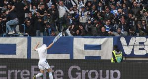 Sergio Floccari celebrates scoring SPAL's winner against Juventus. Photograph: Isabella Bonotto/AFP/Getty