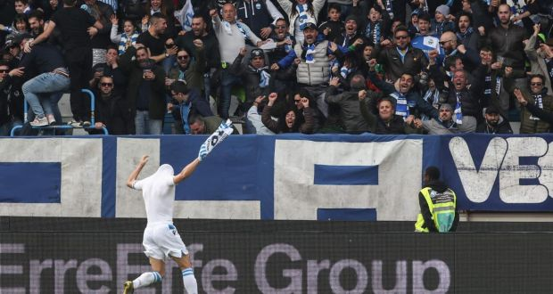 SPAL striker Sergio Floccarri celebrates his winner