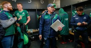 Connacht head coach Andy Friend in the dressing room after the victory over Cardiff Blues at the Sportsground. Photograph: James Crombie/Inpho
