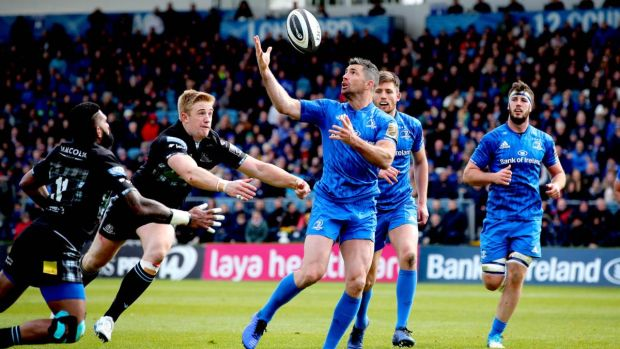 Leinster's Rob Kearney on the way to scoring their second try of the Guinness Pro 14 game against Glasgow Warriors at the RDS. Photograph: Ryan Byrne/Inpho