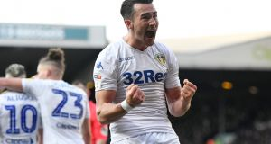 Jack Harrison  celebrates scoring for  Leeds United  in the Sky Bet Championship match against  Sheffield Wednesday at Elland Road. Photograph: George Wood/Getty Images
