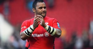 Billy Vunipola of Saracens applauds the crowd during the Gallagher Premiership Rugby match against Bristol Bears  at Ashton Gate. Photograph: Nathan Stirk/Getty Images