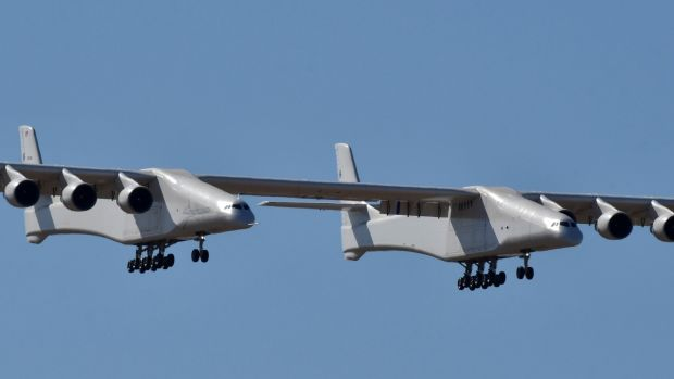 The world's largest airplane has been built by the late Paul Allen's company Stratolaunch Systems. Photograph: Reuters