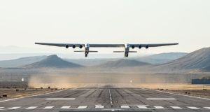 The Stratolaunch plane  above the California desert on Saturday during its first test flight. Photograph: Getty Images