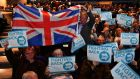 Supporters of the Brexit Party at the first public rally of their European Parliament election campaign, in Birmingham on Saturday. Photograph: Daniel Leal-Olivas/AFP/Getty Images