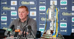 Celtic manager Neil Lennon prior to him asking for the  Scottish Cup trophy to be removed during a press conference at Lennoxtown ahead of the semi-final against Aberdeen at Hampden Park. Photograph:  Steve Welsh/William Hill/PA Wire