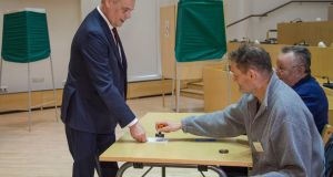 Finnish Social Democrat Party leader Antti Rinne prepares to vote at a polling station in Mantsala, Finland. Photograph: Markku Ojala/EPA