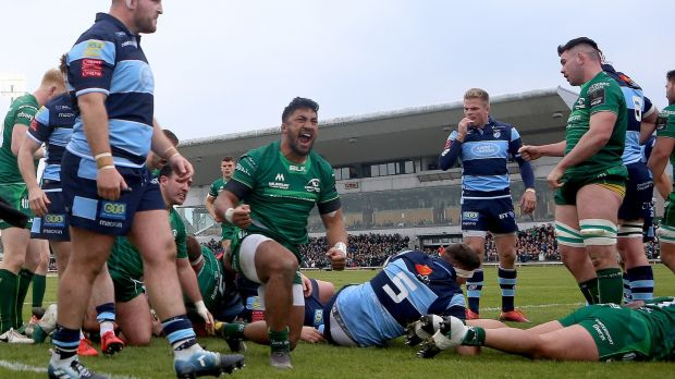 Connacht's Bundee Aki celebrates after Gavin Thornbury scored their second try during the Guinness Pro 14 game against Cardiff Blues at the Sportsground. Photograph: James Crombie/Inpho