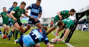 Connacht's Matt Healy scores a try during the Guinness Pro 14 game against Cardiff Blues at the Sportsground. Photograph: Tommy Dickson/Inpho