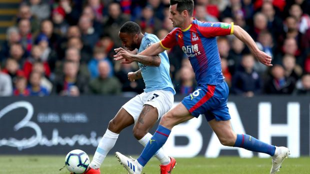 Manchester City's Raheem Sterling scores his side's first goal of the game against Crystal Palace. Photograph: Steven Paston/PA