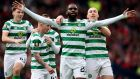 Odsonne Edouard celebrates scoring Celtic's second against Aberdeen. Photograph: Mark Runnacles/Getty