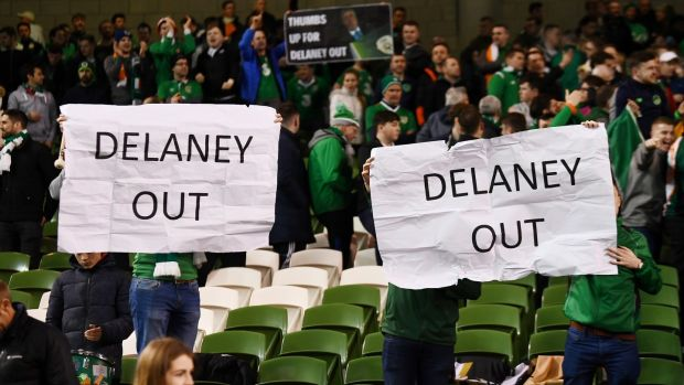 Fans attending the Euro 2020 qualifier between the Republic of Ireland v Georgia protest against John Delaney. Photograph: Reuters