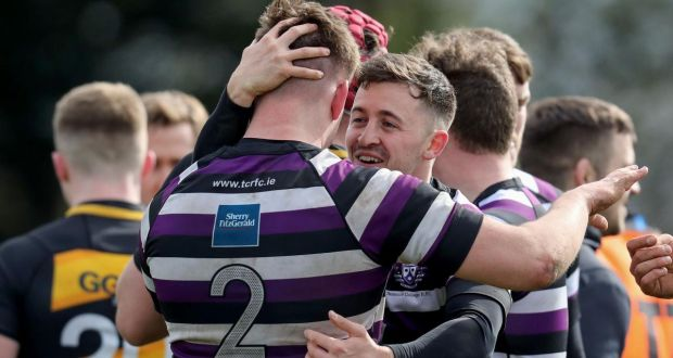 74f02041232 Robert Smyth and Jake Swine celebrate Terenure's win over Young Munster.  Photograph: Bryan Keane