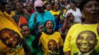 African National Congress supporters listen to president Cyril Ramaphosa addressing them during an election rally held in Alexandra Township, Johannesburg, on April 11th.  Kim Ludbrook/EPA