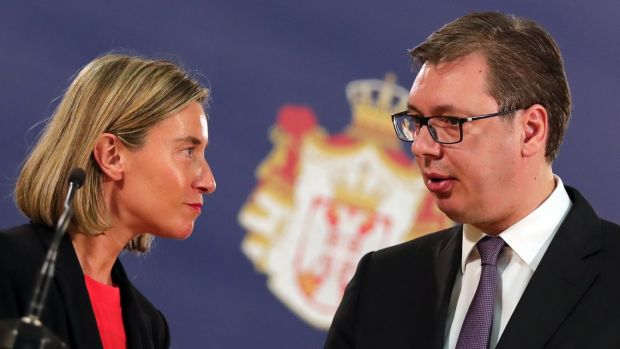 Serbian president Aleksandar Vucic (right) in conversation with EU foreign policy chief Federica Mogherini in Belgrade last year. Photograph: Koca Sulejmanovic/EPA