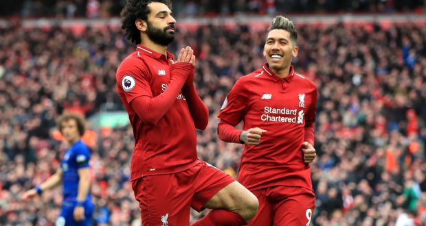 29856e069e9 Mohamed Salah celebrates after scoring Liverpool's second against Chelsea.  Photograph: Peter Byrne/PA