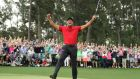 MAJOR WINNER: Tiger Woods celebrates on the 18th hole having sunk his last putt to win the 2019 US Masters, his first major win in 11 years. Photgraph: Lucy Nicholson/Reuters