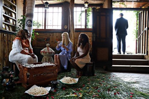 COFFE MEETING: White House senior adviser Ivanka Trump (center) attends a coffee ceremony at Dumerso Coffee in Addis Ababa, Ethiopia. Photograph: Jacquelyn Martin/AP
