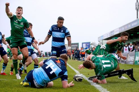 LANDED: Connacht's Matt Healy scores a try during the Guinness Pro 14 clash with the Cardiff Blues at the Sportsground in Galway on Saturday. Photograph: Tommy Dickson/Inpho