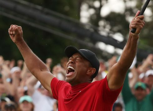 The winning feeling. Tiger lets it all out. Photograph: Reuters