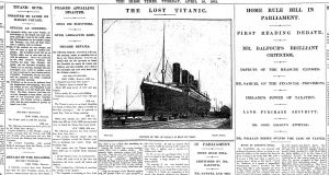 The first Irish Times news report, on April 16th, 1912, following the sinking of the RMS Titanic. Photograph: The Irish Times