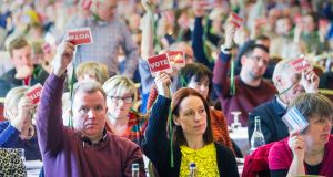 Delegates display their votes at the ASTI's annual convention in Cork last year. Photograph: Daragh Mc Sweeney/Provision