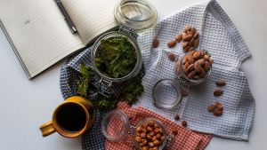Kale Chips, Salted Almonds and Spiced Roast Chickpeas. Photograph: Deborah Ryan