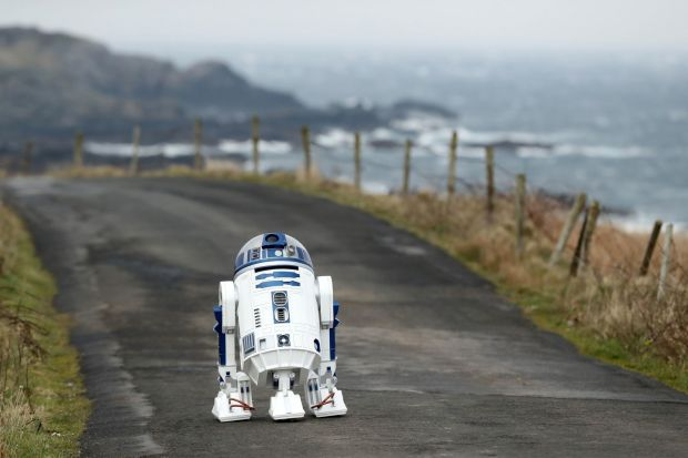 An R2D2 droid admires the view along the road bearing its name. Photograph: Niall Carson/PA Wire