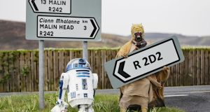 A Tusken Raider character poses with an R2D2 droid replica at the opening of the R2D2 road in Malin Head, Co Donegal on Monday. Photograph: Niall Carson/PA Wire