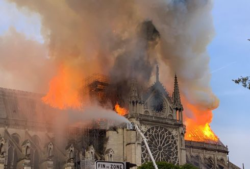 DISASTER IN PARIS: Flames and smoke erupt from the roof of Notre-Dame Cathedral in Paris after a fire broke out in the major landmark on Monday afternoon. Photograph: Patrick Anidjar/AFP/Getty Images