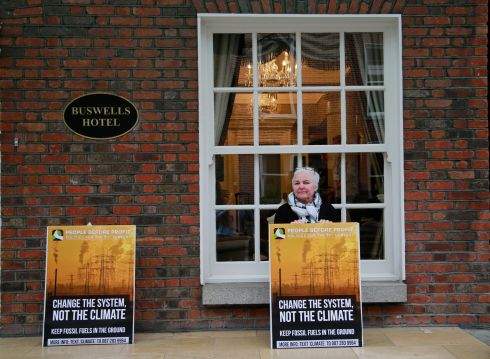 NO FOSSIL FUELS: Brid Smith TD of People Before Profit launching the party's Climate Action Committee Minority Report at Buswells Hotel in Dublin. Photograph: Nick Bradshaw
