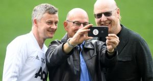 United manager Ole Gunnar Solskjaer with Avram Glazer and Joel Glazer, owners of Manchester United, prior to a training session  at Camp Nou  in Barcelona. Photograph: Spain.  Michael Regan/Getty Images
