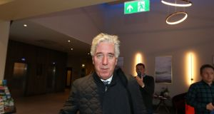 John Delaney leaving the Carlton Hotel near Dublin Airport on Monday evening after a meeting with the board of the FAI. Photograph: Colin Keegan/Collins Dublin