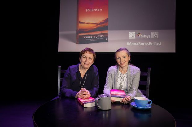Man Booker Prize-winning author Anna Burns was given a warm welcome home last night to the Lyric Theatre Belfast for a special in conversation event with Anne Enright, jointly hosted by the Arts Council of Northern Ireland and Faber Members. Photograph: Brian Morrison.