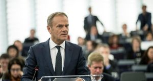 European Council president Donald Tusk speaking at the European Parliament in Strasbourg on Tuesday. Photograph: Jean-Francois Badias/AP