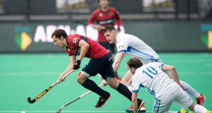 Three Rock Rovers in action in the Euro Hockey League. Photograph: Florent van Aubel