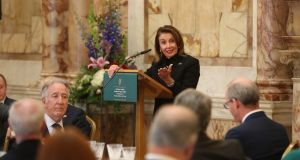 US House of Representatives speaker Nancy Pelosi makes a speech at Iveagh House, Dublin. Photograph: Niall Carson/PA