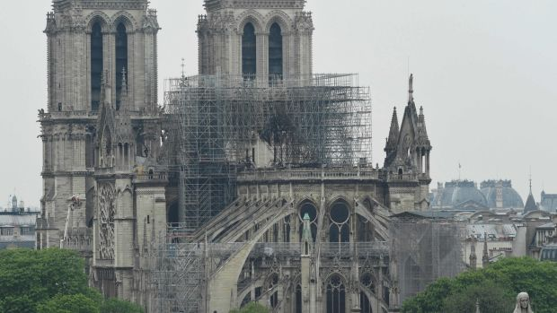 Notre-Dame de Paris in the aftermath of the fire that devastated the cathedral. Photograph: Bertrand Guay / AFP/Getty Images