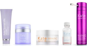 Kate Somerville Goat Milk Moisturizing Cleanser, Goat Milk Moisturizing Cream, EradiKate Blemish Treatment, ExfoliKate Intensive Exfoliating Treatment, and Dermal Quench Wrinkle Warrior Advanced Hydrating & Plumping Treatment
