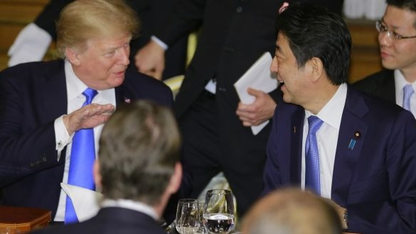 US president Donald Trump with Shinzo Abe, Japan's prime minister. Photograph: Shizuo Kambayashi/Bloomberg