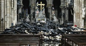 A pile of rubble inside Notre Dame Cathedral today after the devastating fire overnight. Photograph: AFP/Getty Images