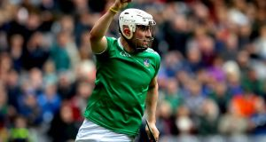 Limerick's Aaron Gillane celebrates scoring the first goal of the game  against Waterford in the Allianz Division 1 final at  Croke Park. Photograph: Ryan Byrne/Inpho