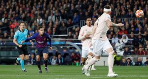 Philippe Coutinho scores Barcelona's  third goal during the  Champions League quarter-final second leg against Manchester United at the Nou Camp. Photograph: Susana Vera/Reuters