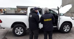 Garda and Cab officers were involved in the raids. Photograph: Garda Press Office