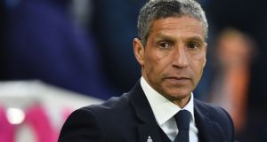 Brighton's Irish manager Chris Hughton during his team's defeat to Cardiff City. Photograph: Getty Images