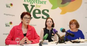 Co-directors of Together For Yes (left to right) Ailbhe Smyth, Gráinne Griffin and Orla O'Connor. File Photograph: Niall Carson/PA