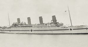 The HMHS Britannic, sister ship of the Titanic, as a hospital ship, shortly before she sank in 1916