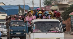 Workers on their way to the many garment factories in Phnom Penh, Cambodia. File photograph: Jason South/Fairfax Media/Getty Images
